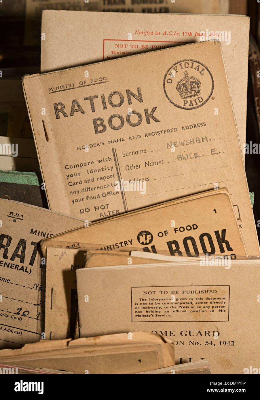 Second World War ration books in museum - Stock Image