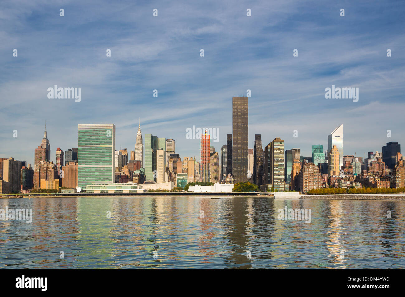 Manhattan New York USA United States America UN United Nations architecture city colourful midtown new panorama skyline - Stock Image