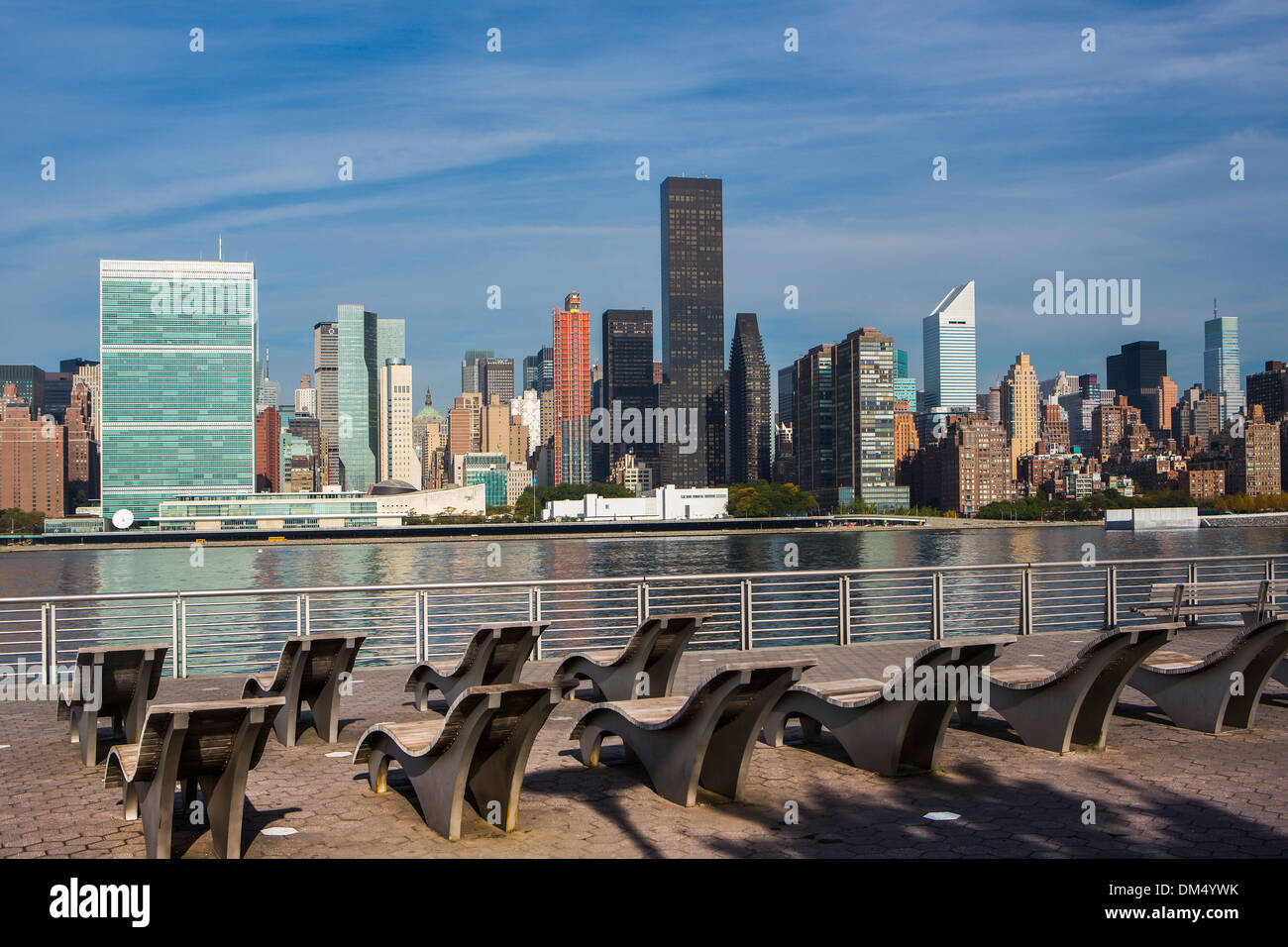 Manhattan New York USA United States America UN United Nations architecture chairs city colourful easy chair midtown new - Stock Image