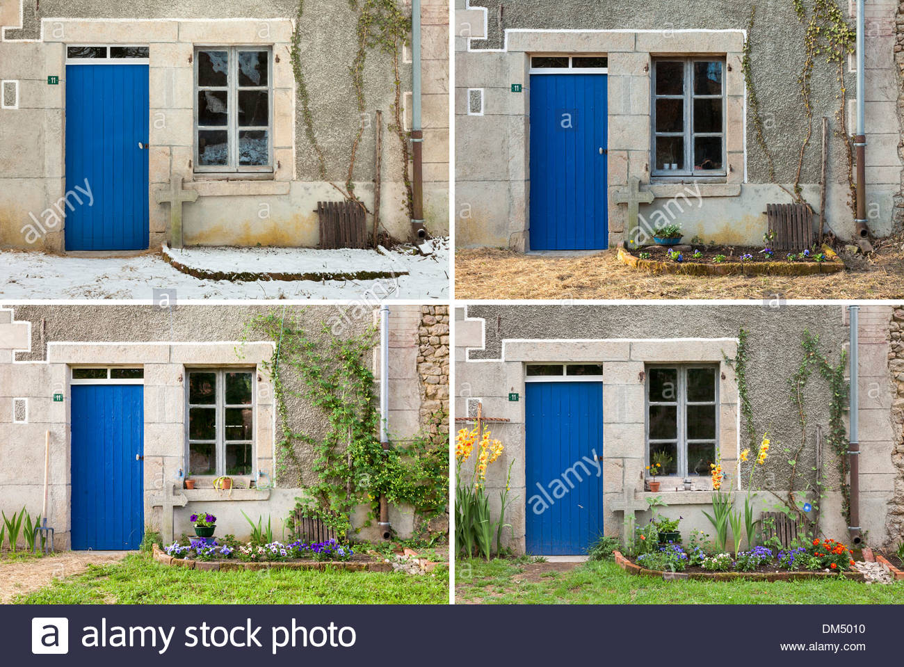 Front door of old Farmhouse, composite showing four seasons (winter, spring, summer, autumn) of same scene - Stock Image