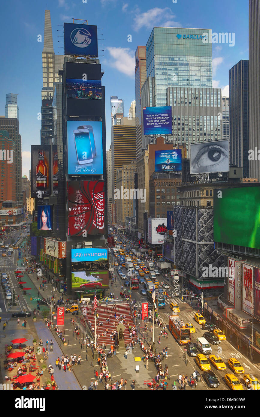 Manhattan New York USA United States America Times Square advertising advertisements architecture city colourful colours - Stock Image