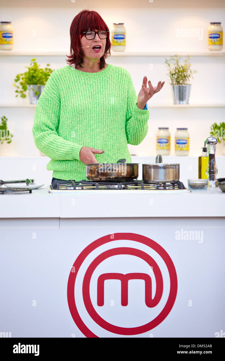 Janet Street-Porter gives a cookery demonstration at the 2013 BBC Good Food Show held in Olympia Exhibition Hall - Stock Image
