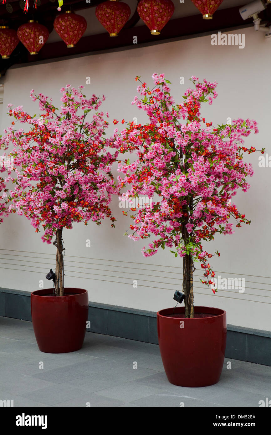 Artificial Cherry Blossom Trees Outside Buddha Tooth Relic Temple