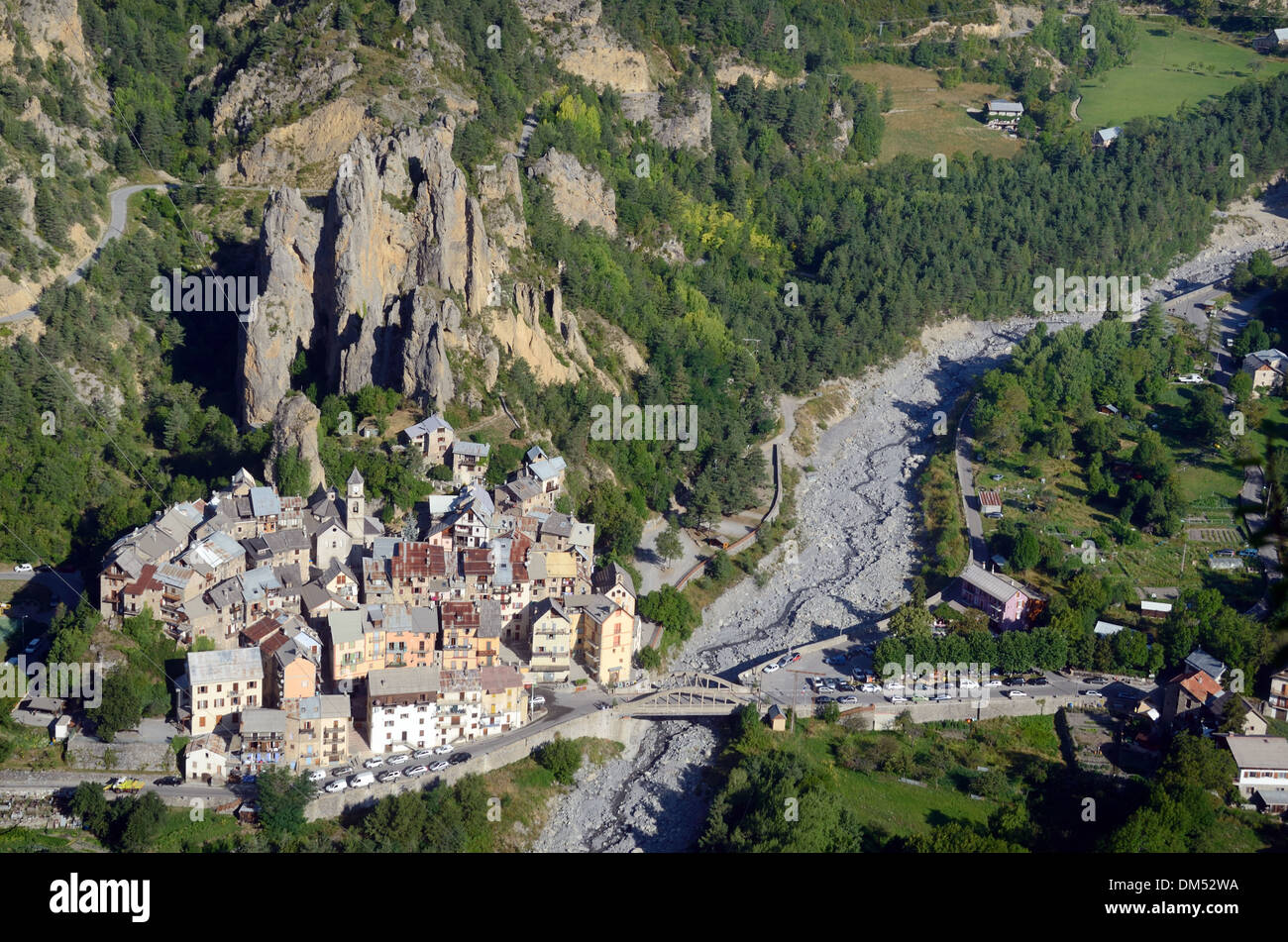 Aerial View of Péone or Peone Alpine Village and the Var Valley & River Bed Haut-Var Alpes-Maritimes France Stock Photo