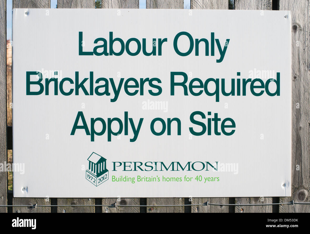 Notice or sign Bricklayers Required, north east England, UK - Stock Image