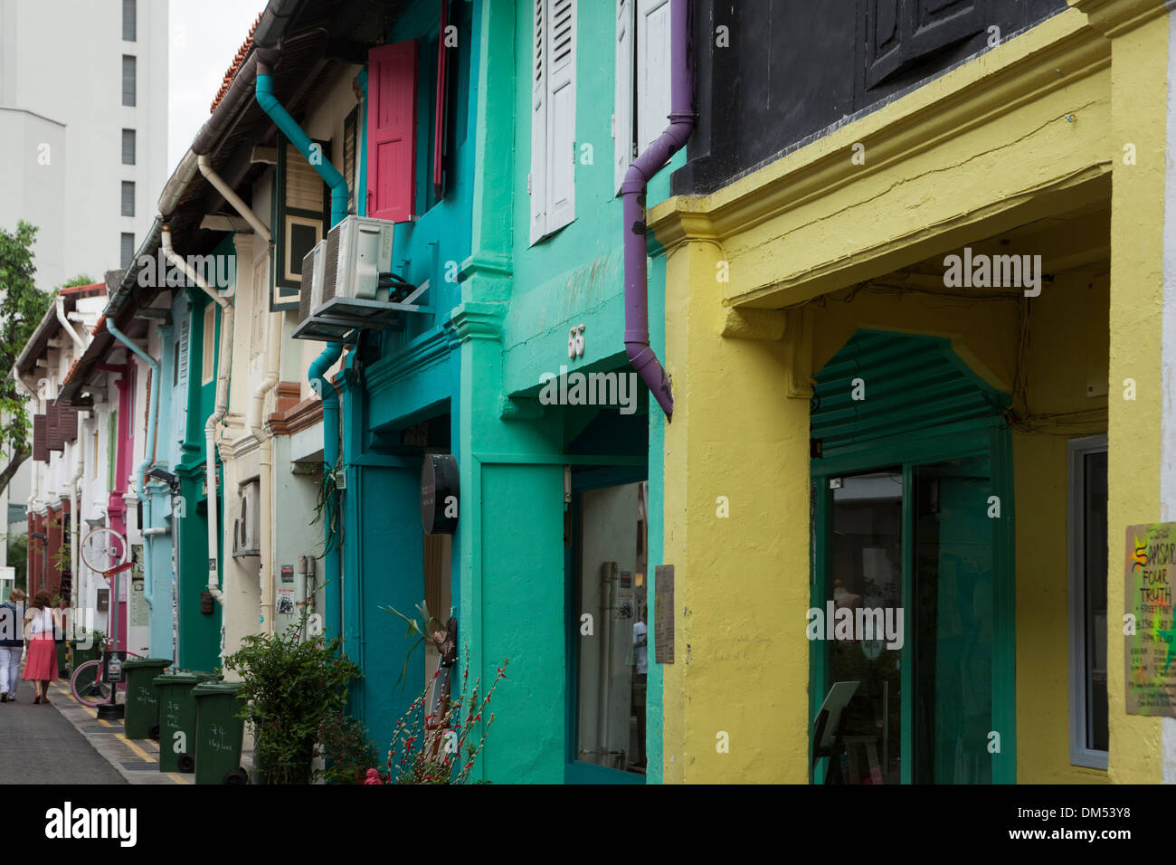 Detail of colourful shop-fronts in Haji Lane, Singapore. - Stock Image