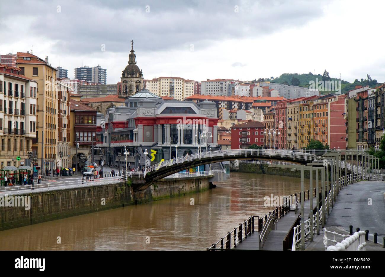 Exterior of the Mercado de la Ribera along the Nervion River at Bilbao, Biscay, Spain. - Stock Image