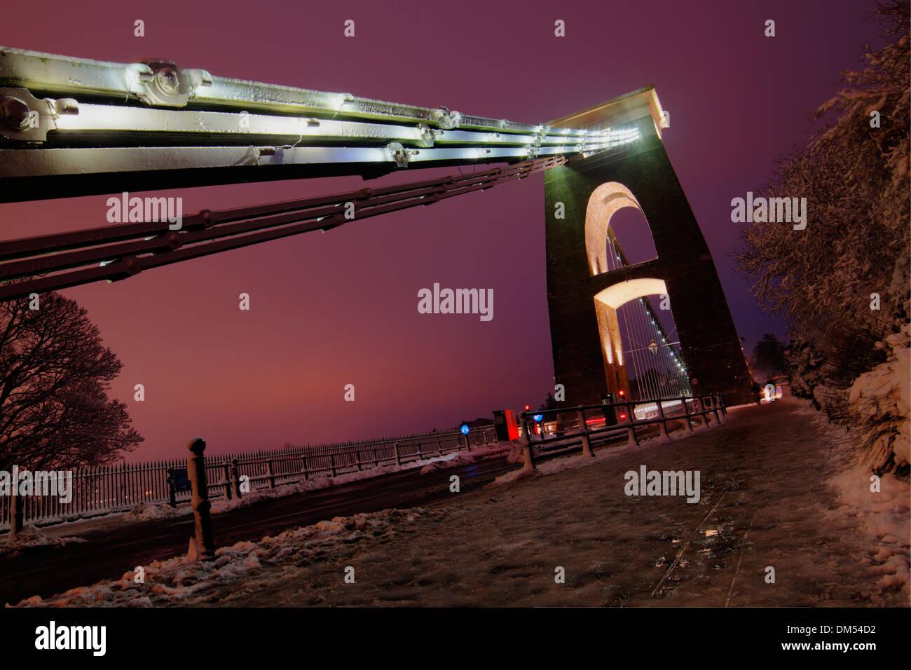 Clifton Suspension Bridge in the snow. Bristol, January 2013. - Stock Image