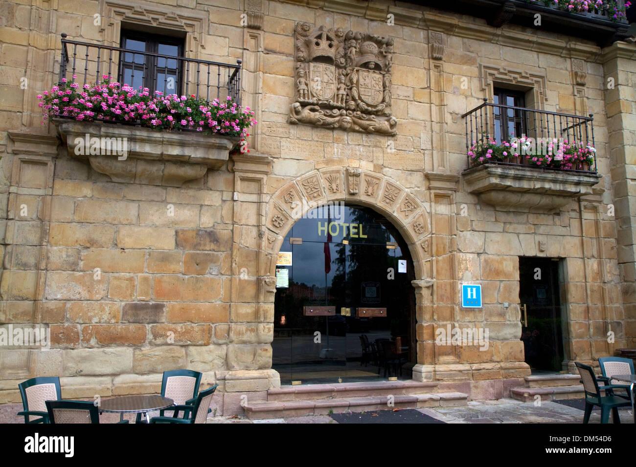 Hotel exterior at Santillana de Mar, Cantabria, Spain. - Stock Image