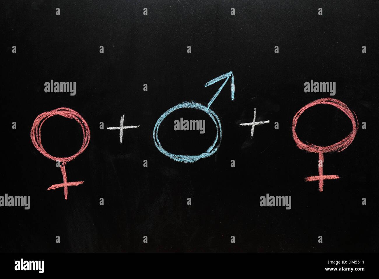 2 female and 1 male gender symbols drawn on a blackboard in chalk.