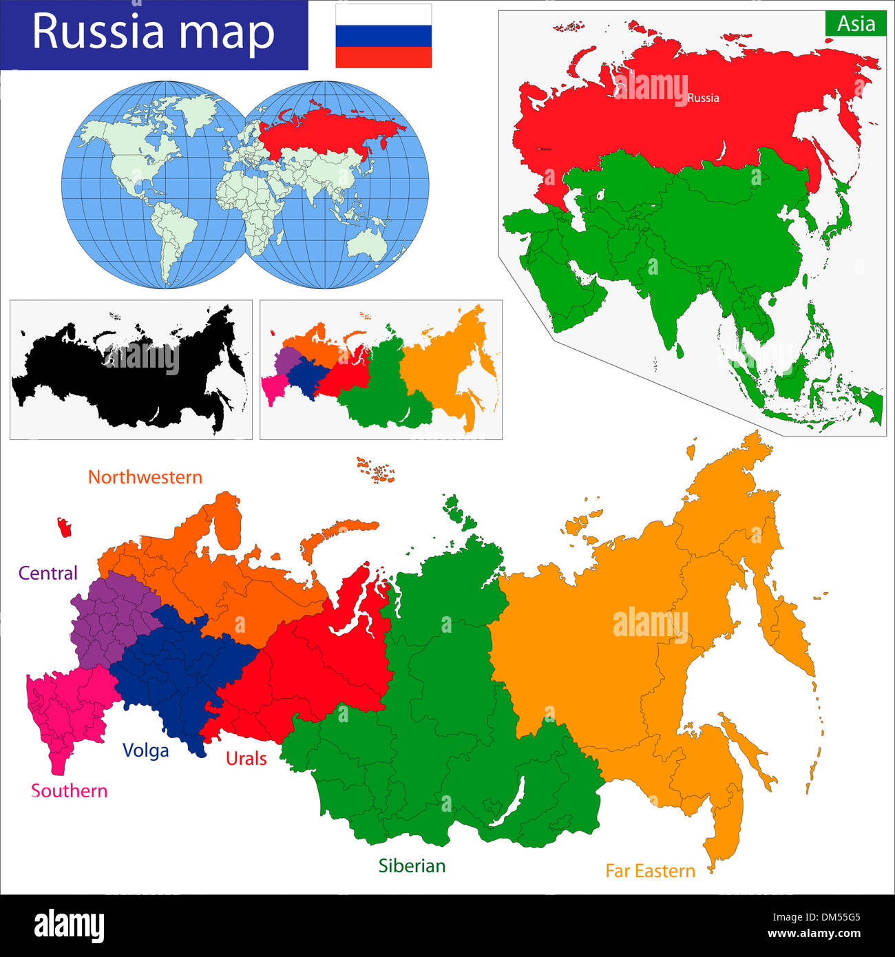 Russia map - Stock Image