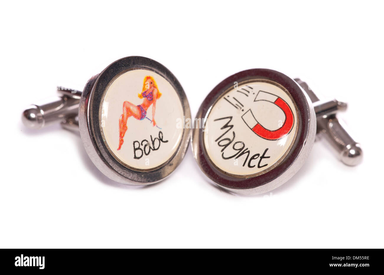 babe magnet cuff links studio cutout - Stock Image