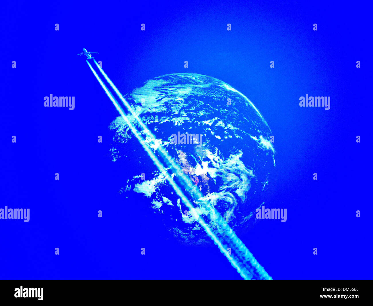 Earth, space, universe, blue, jet, jet airplane, condensation trail, airplane, planet, environment, CO2, - Stock Image