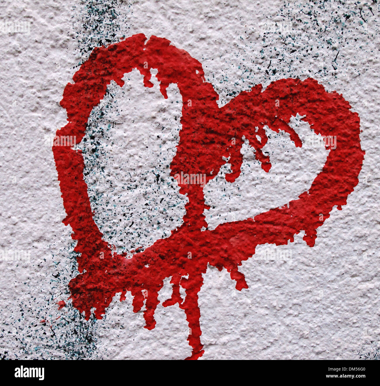 More poorly, concrete, wall, heart, spray, heart, red, love, symbol, mural painting - Stock Image