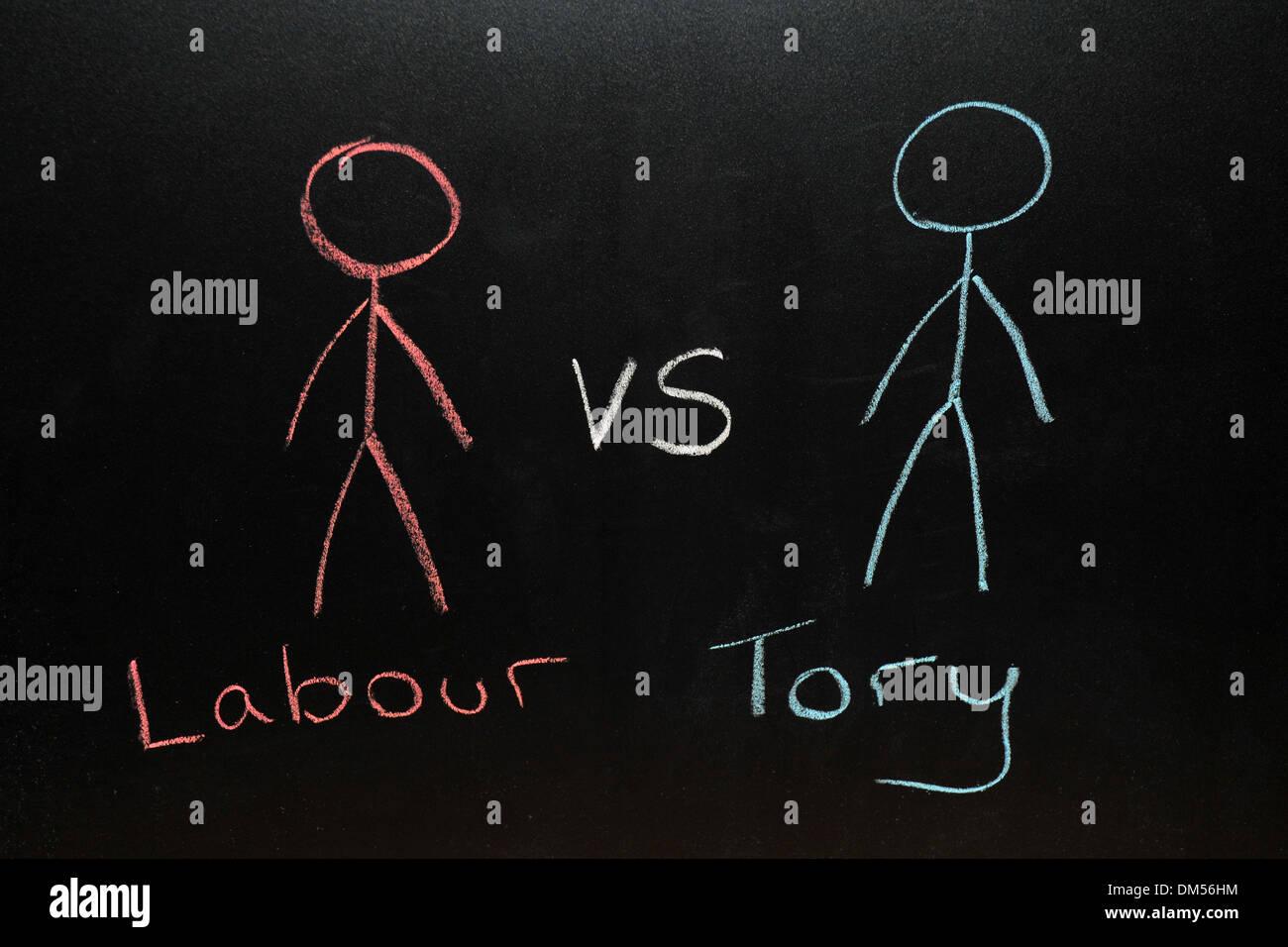 labour vs Tory drawn on a blackboard in chalk. Stock Photo