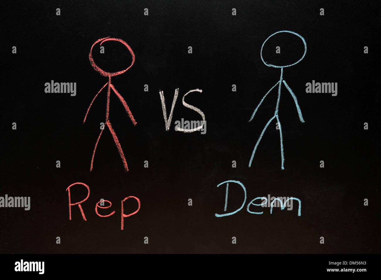 Rep vs Dem drawn on a blackboard in chalk. - Stock Image
