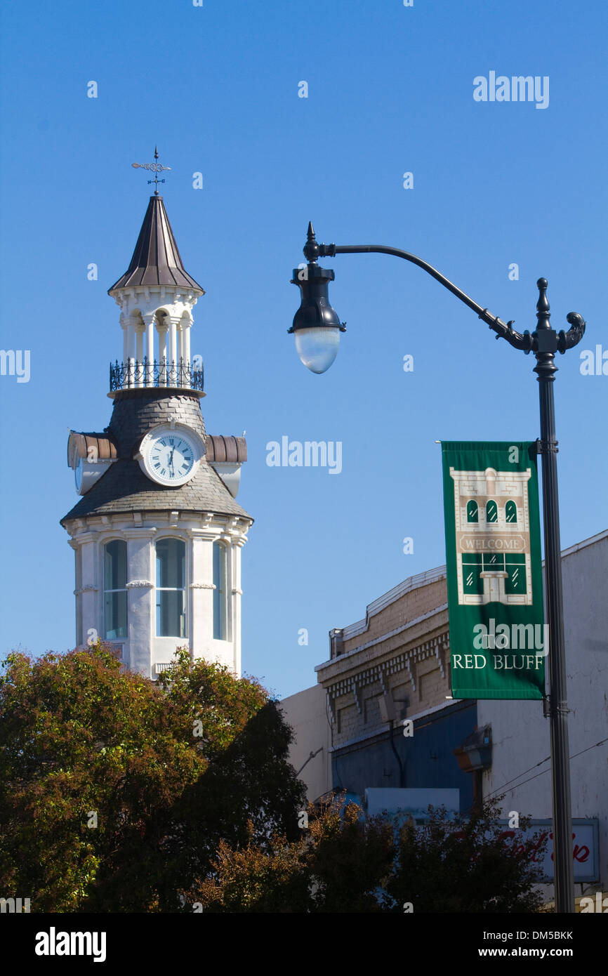 Welcome Banner  and Landmark Clock Tower Red Bluff California USA - Stock Image