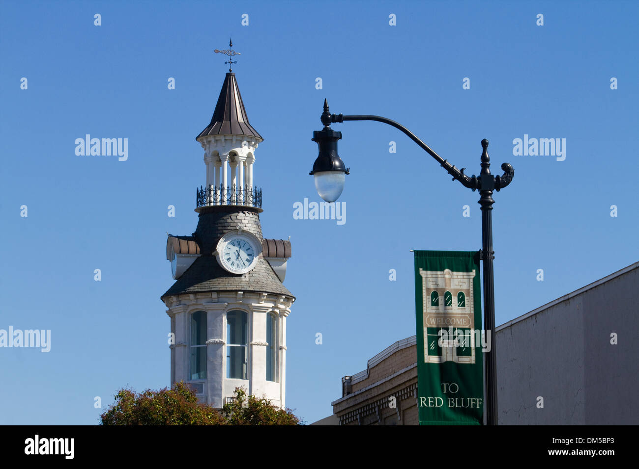 Welcome Banner  Landmark Clock Tower Red Bluff - Stock Image