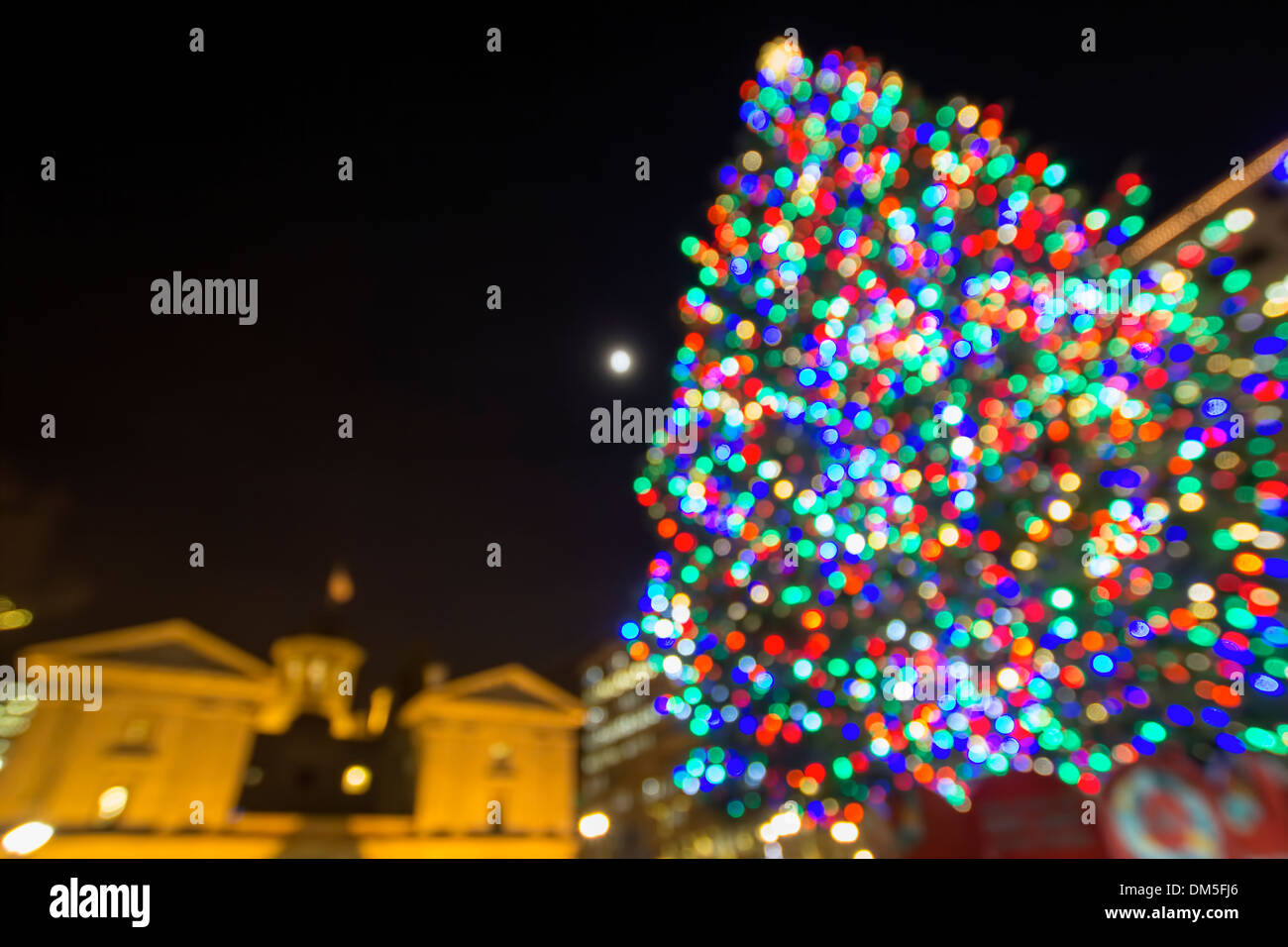 Christmas Holiday Tree with Festive Colorful Lights in Pioneer Courthouse Square in Downtown Portland Oregon Stock Photo