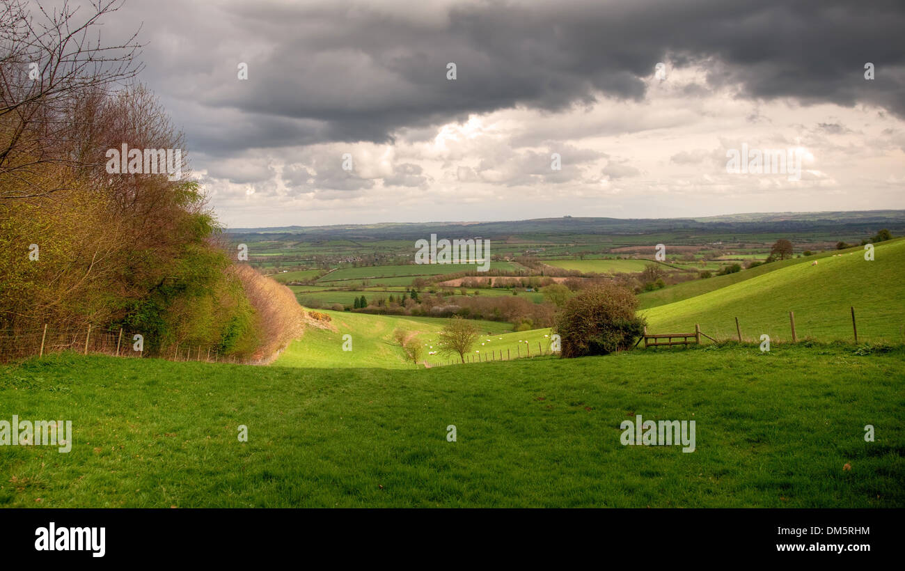 View near the Warwickshire village of Ilmington, Cotswolds, England. - Stock Image