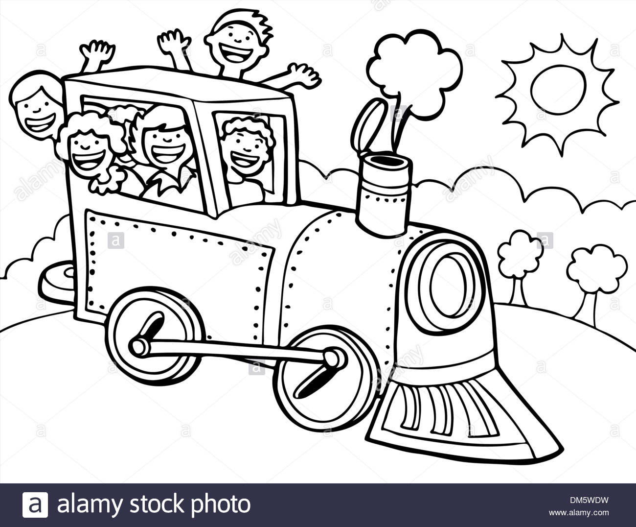 Child Train Ride Black And White Stock Vector Art Illustration