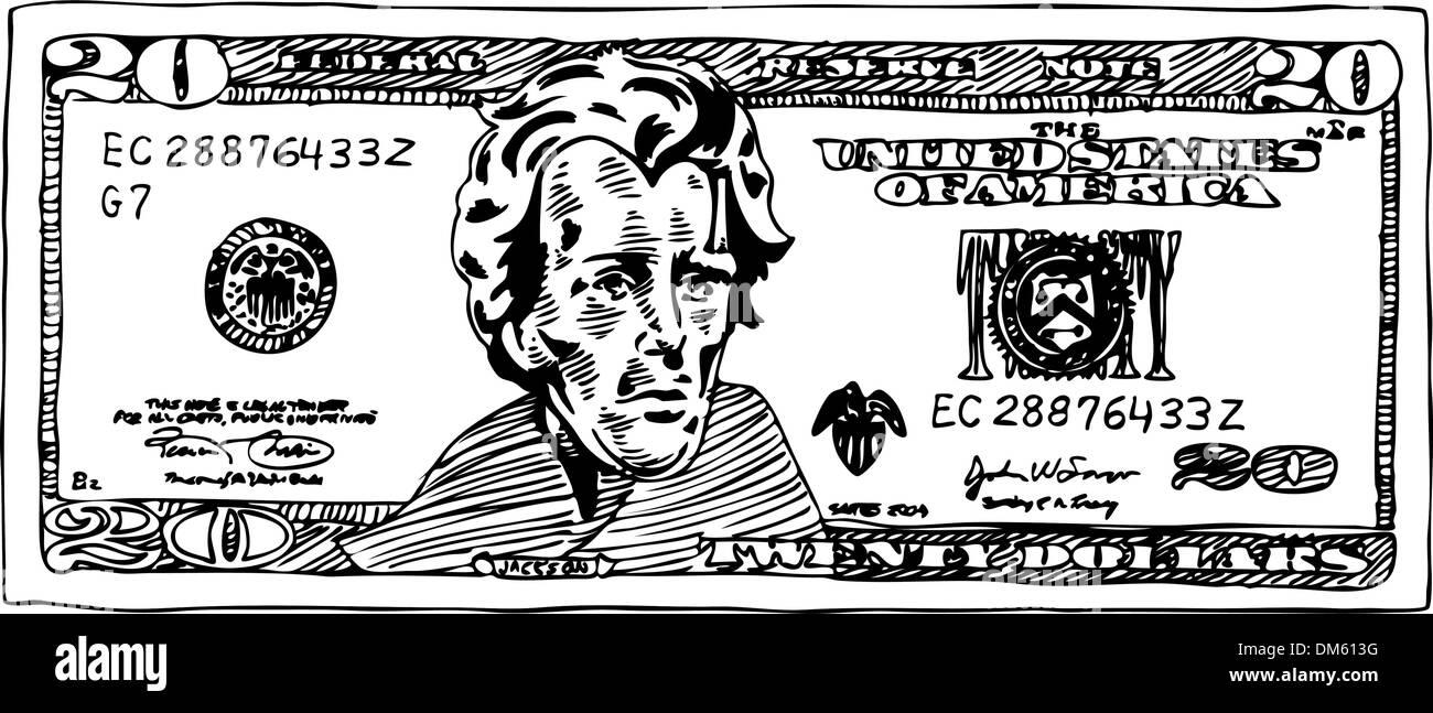 20 Dollar Bill - Stock Vector