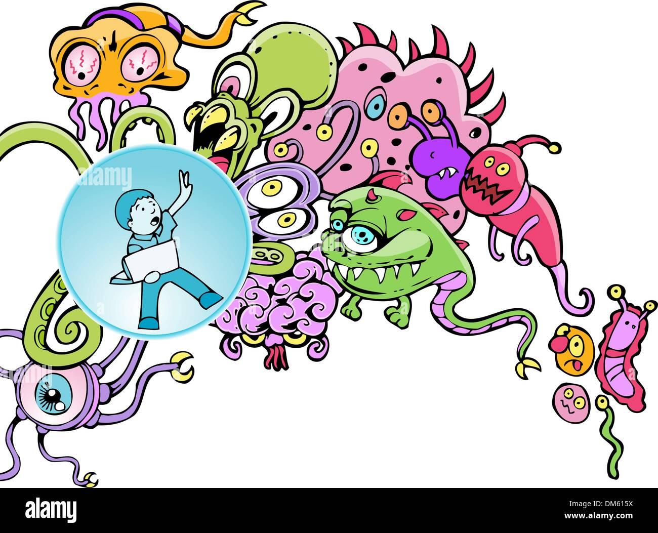 Virus That Attacks Bacteria Stock Photos