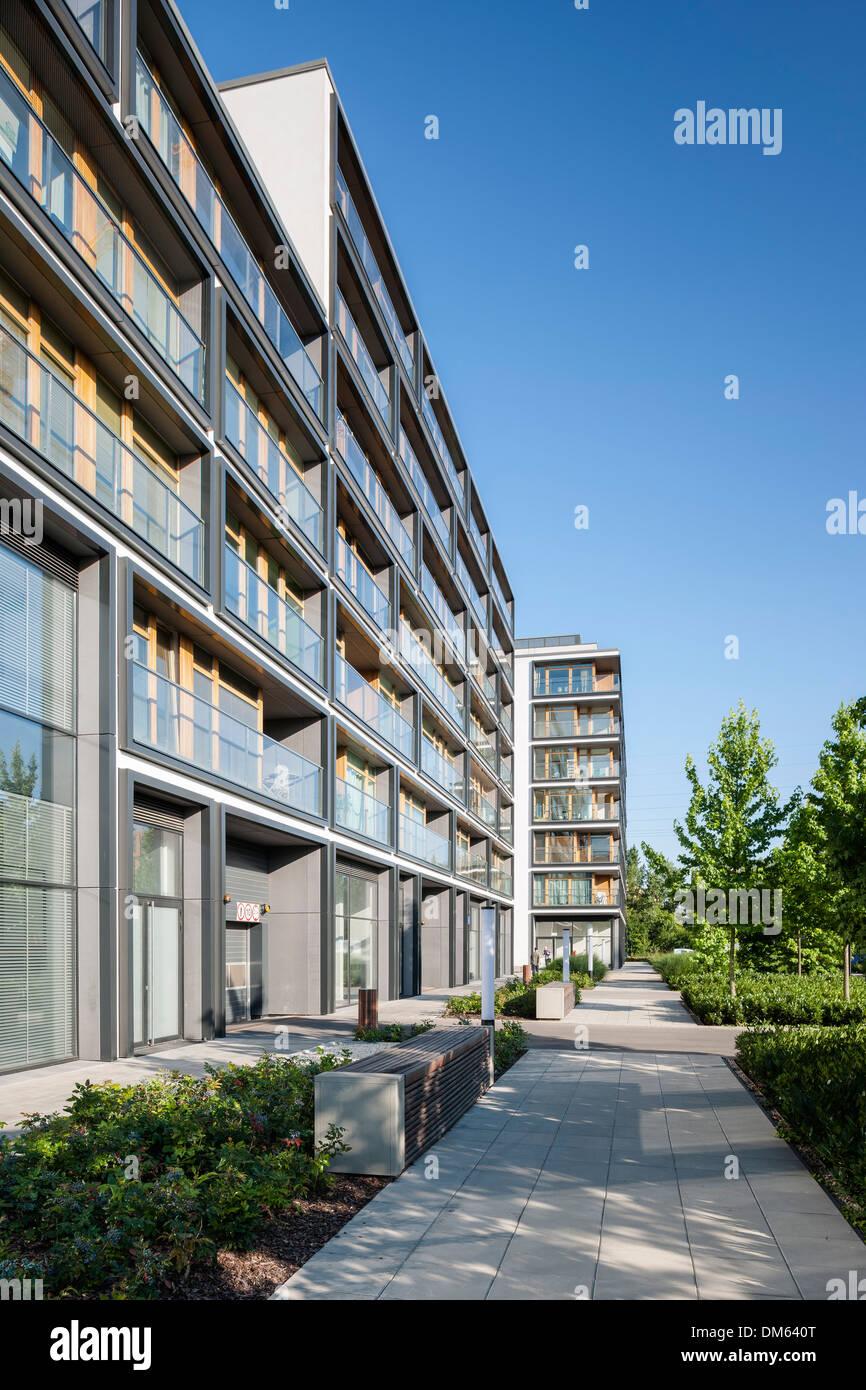19th District Housing Complex, Warsaw, Poland. Architect: Jems Architekci, 2013. Facade perspective. - Stock Image