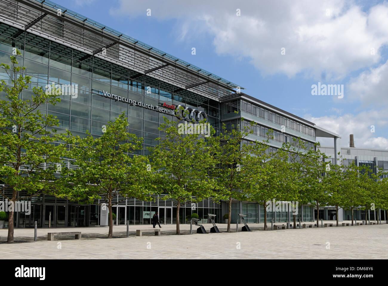 Audi headquarters in Ingolstadt, Upper Bavaria, Bavaria, Germany - Stock Image