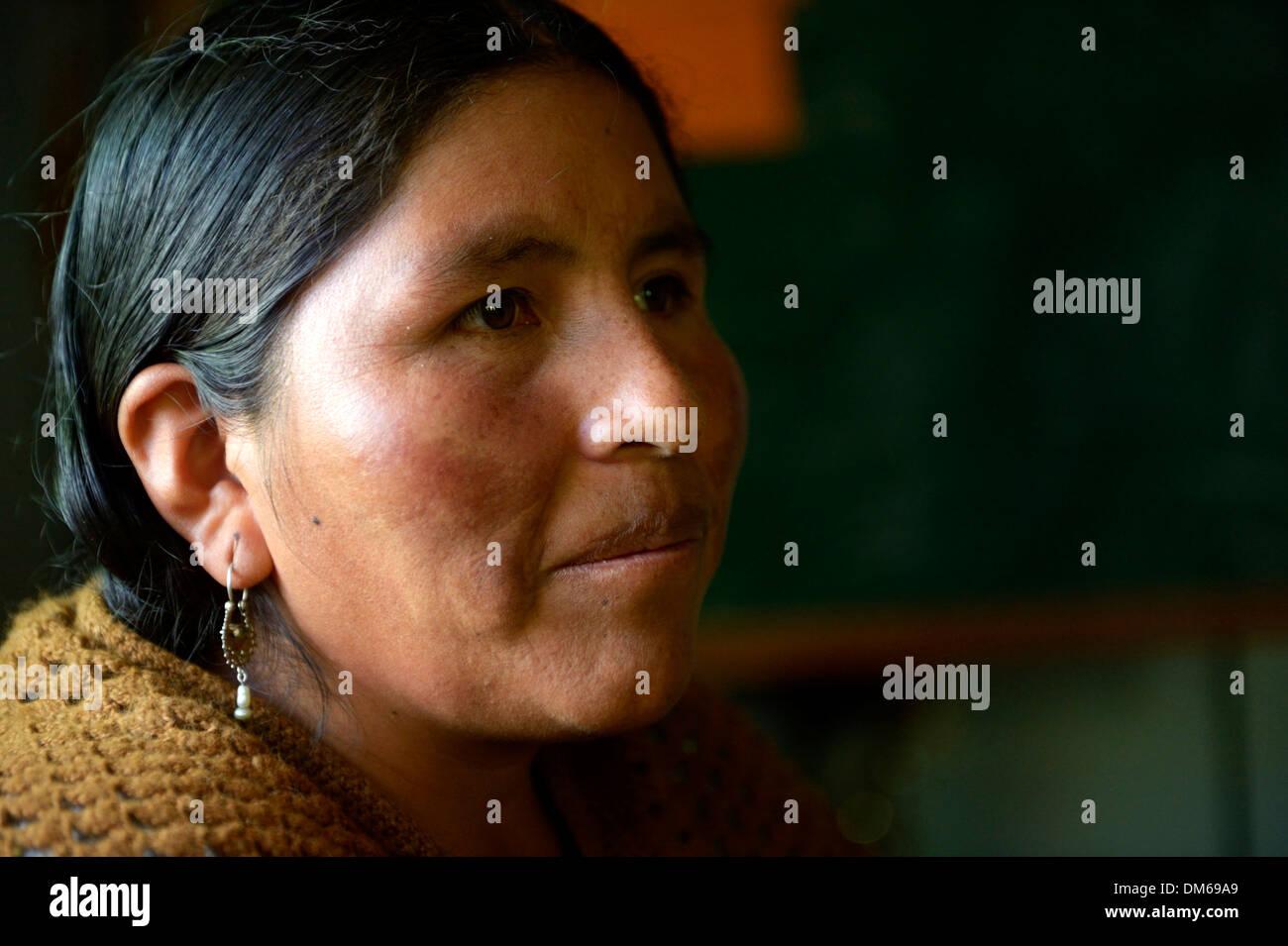 Woman of the Quechua Indians, portrait, El Alto, Departamento La Paz, Bolivia - Stock Image