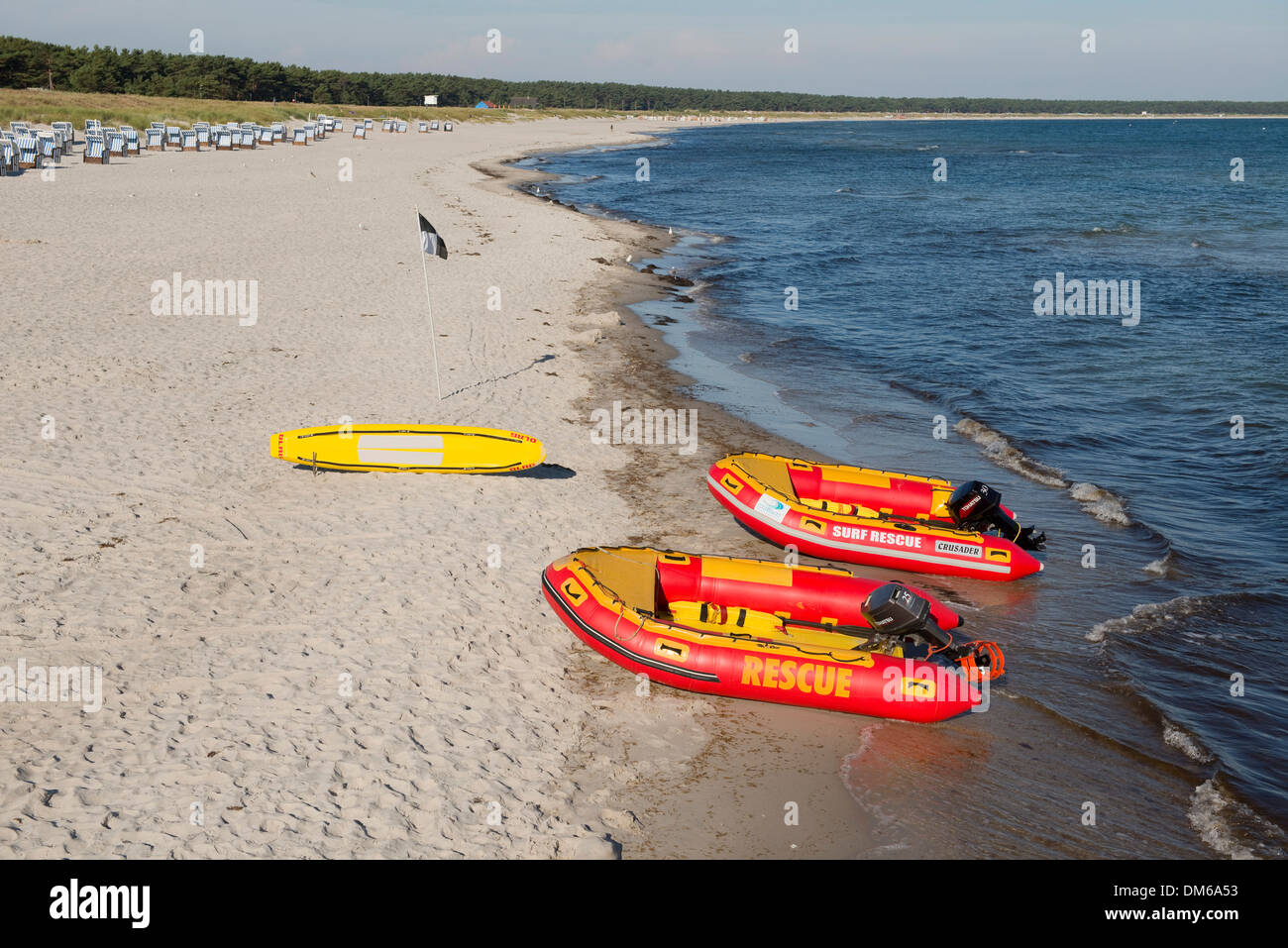 Baltic Sea, beach and lifeboats of the German Life Saving Society, Prerow, Mecklenburg-Vorpommern, Germany - Stock Image
