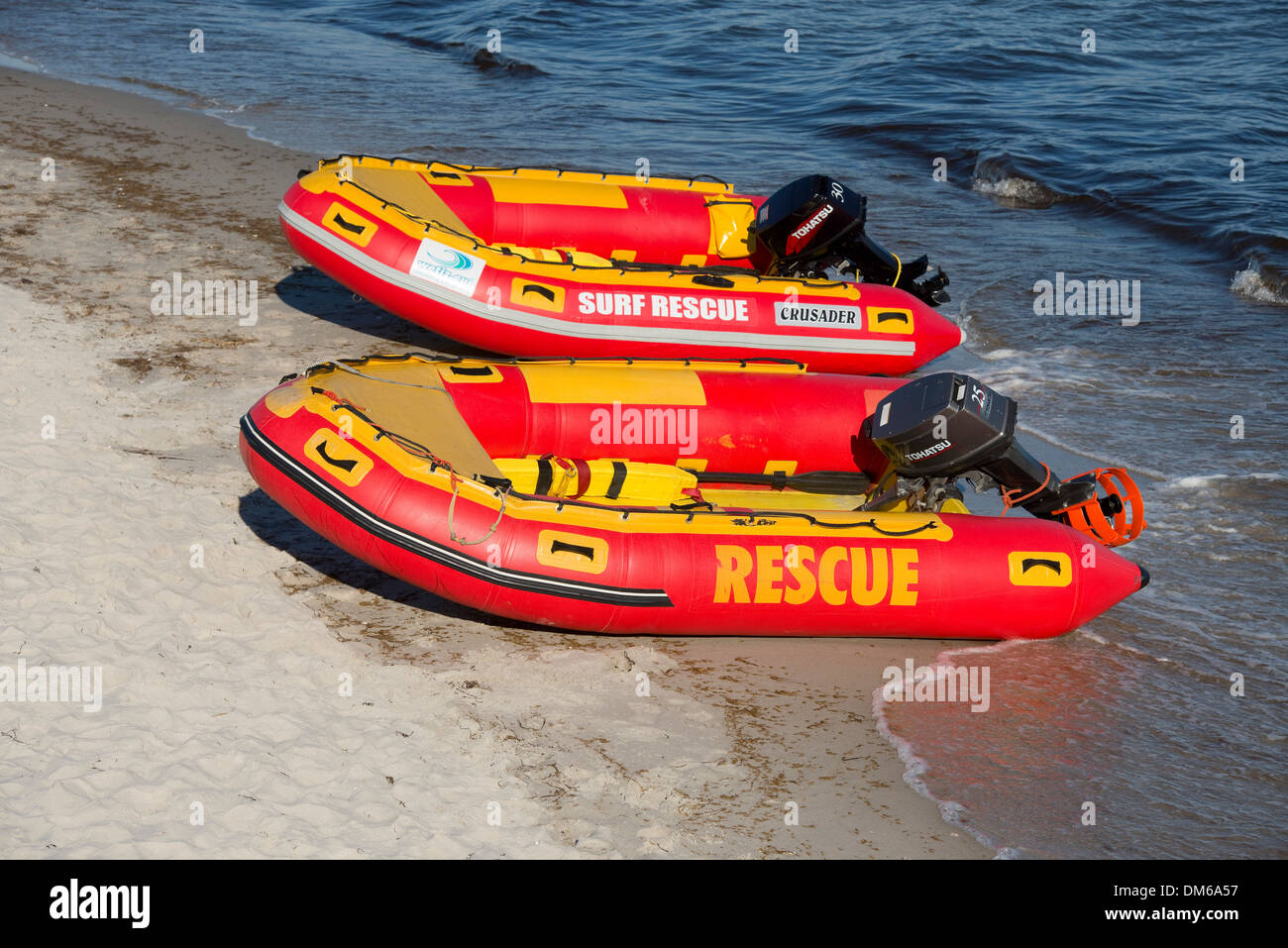 Baltic Sea, beach and lifeboats of the German Life Saving Society, Prerow, Mecklenburg-Vorpommern, Germanyy - Stock Image