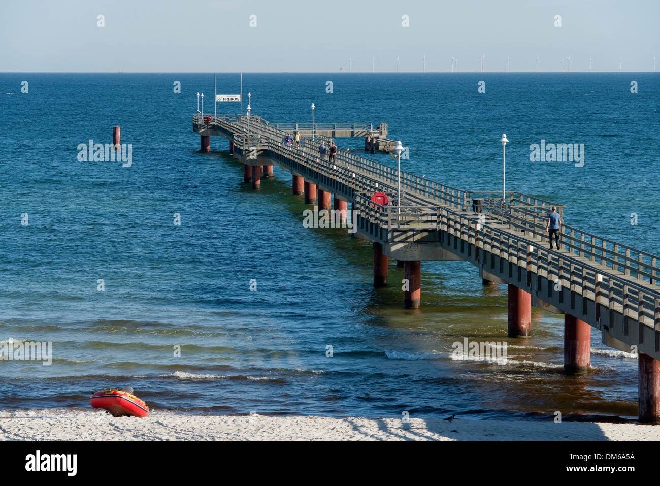 Baltic Sea and pier, Prerow, Mecklenburg-Vorpommern, Germany - Stock Image
