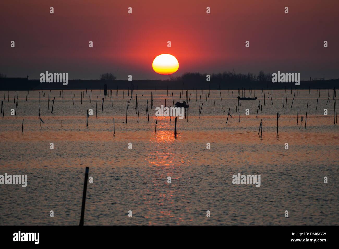 Sunrise in the Po River Delta, fishing boats, Porto Levante, Veneto, Italy - Stock Image
