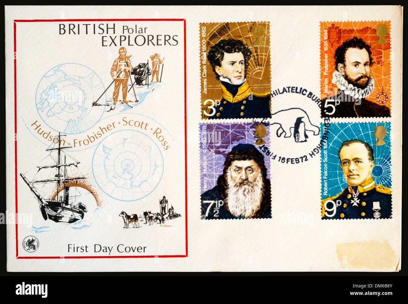 1972 First Day Cover celebrating British Polar Explorers. - Stock Image