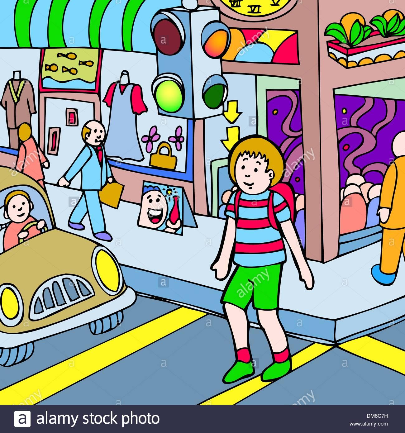 Child walks across the street - Stock Vector