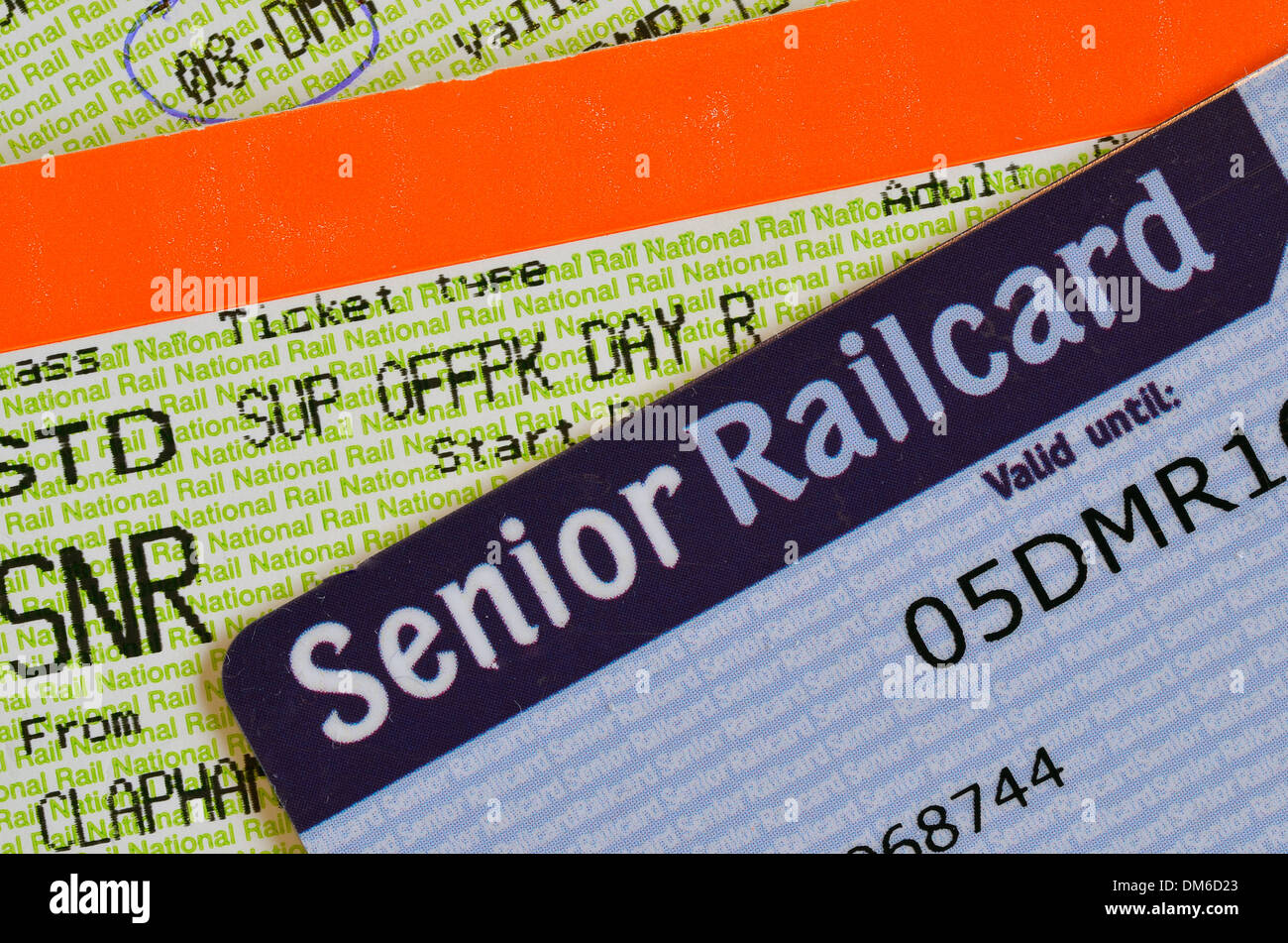 UK Senior Railcard with ticket printed with SNR to indicate that the holder must have a Senior Railcard to validate them. - Stock Image