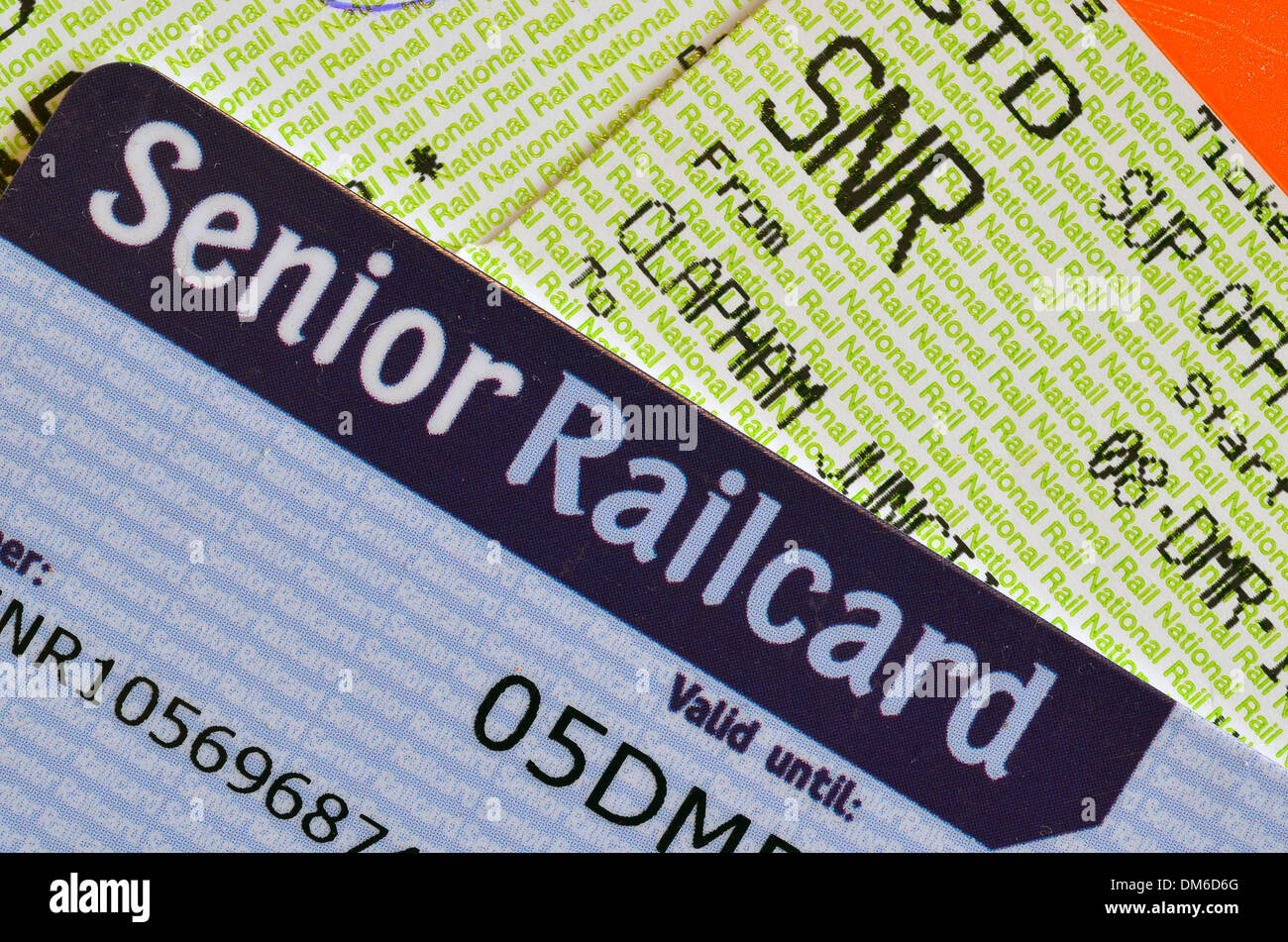 UK Senior Railcard with ticket printed with SNR to indicate that the holder must have a Senior Railcard to validate Stock Photo