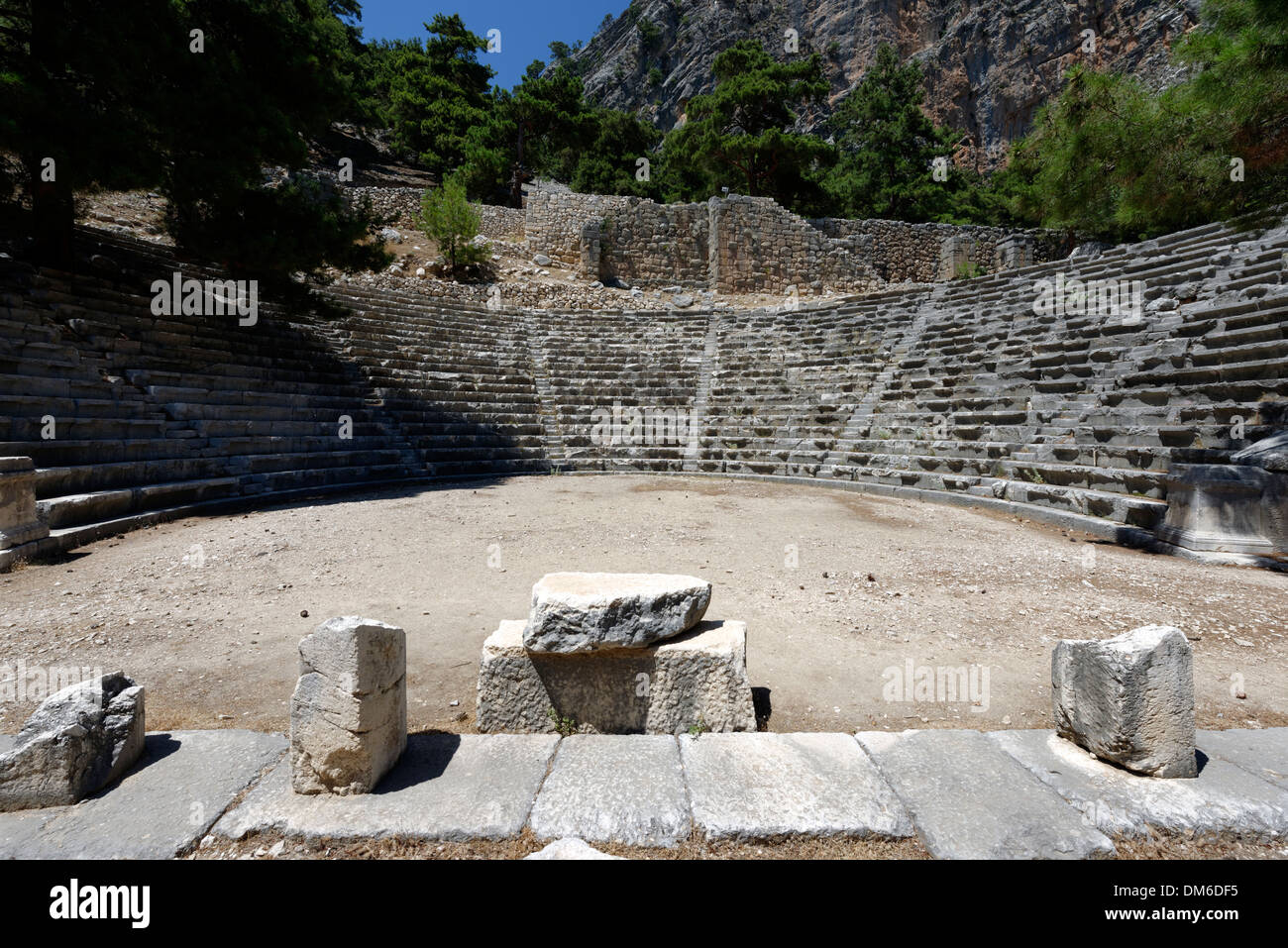 The Greek styled ancient Hellenistic theatre at the Lycian city of Arykanda, in the Antalya province of Southern Turkey. - Stock Image