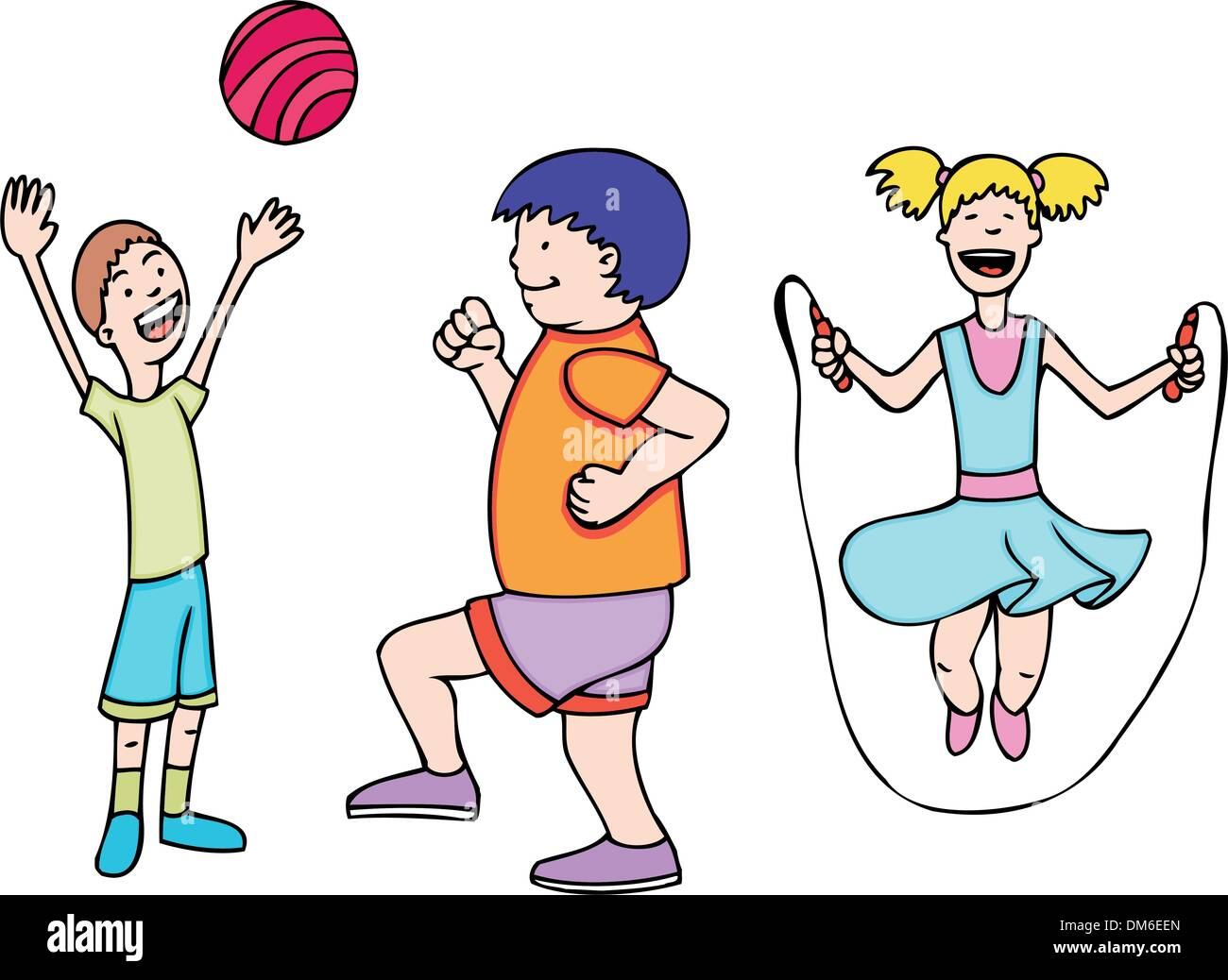 Kids Play And Exercise Stock Vector Image Art Alamy