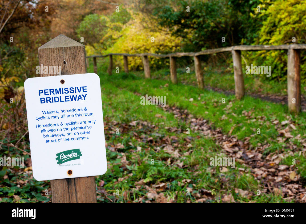 A Permissive Bridleway sign on Hayes Common. - Stock Image