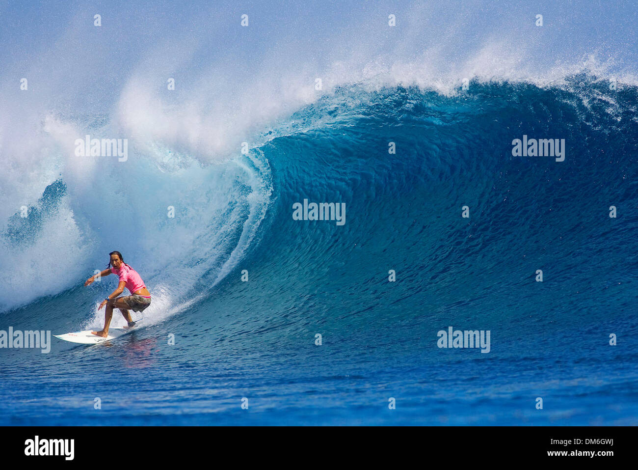 Apr 21, 2005; Tavarua Island, Fiji; Former six times ASP world champion LAYNE BEACHLEY (Manly Beach, Sydney, Aus) finished runner up in the Roxy Pro at Cloudbreak. Beachley held the lead until the final 30 seconds of the 35 minute final when Mulanovich, the reigning world champion, snatched a high scoring wave to claim victory. Beachley pocketed US$6 600 in prize money and moved in - Stock Image