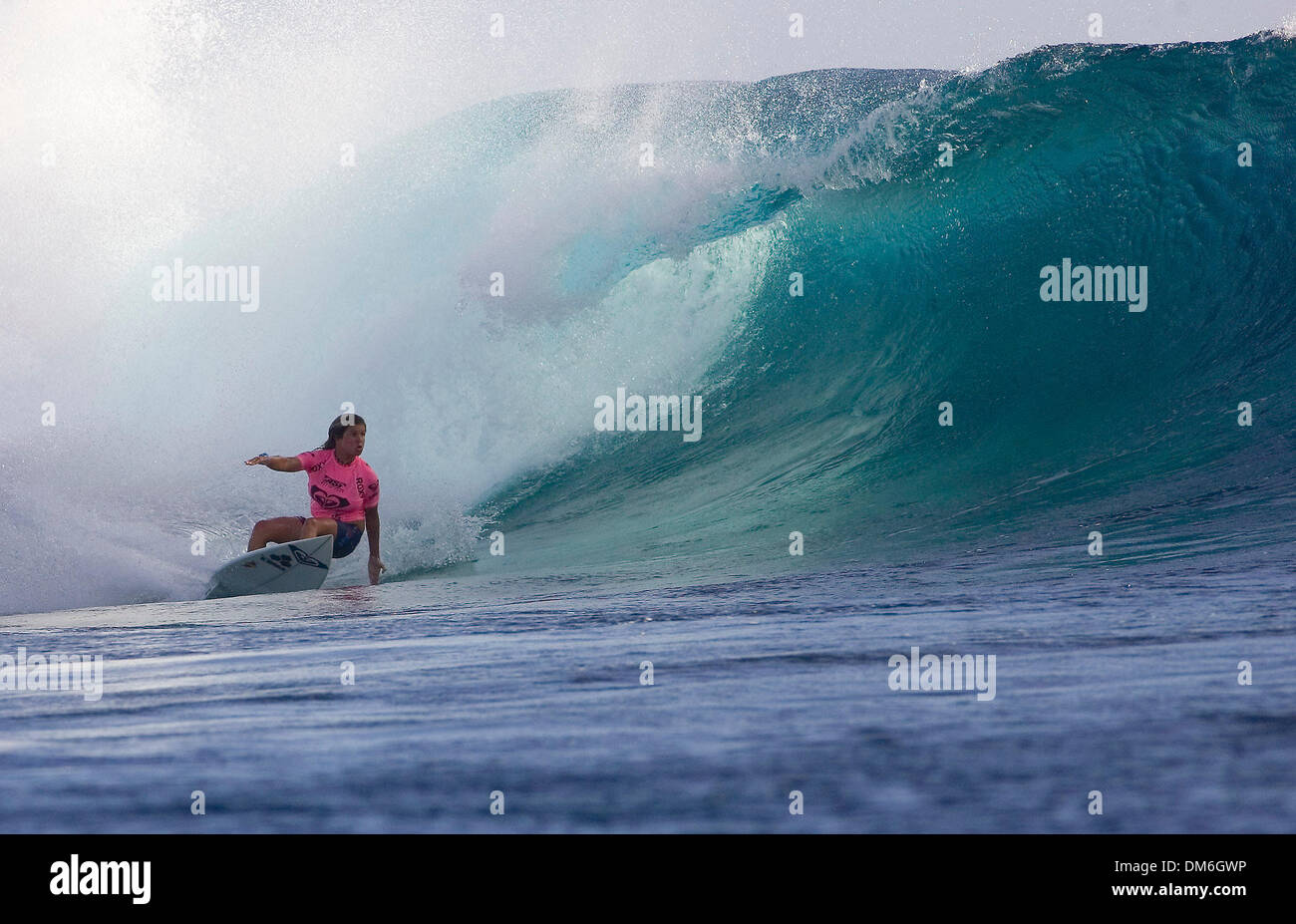 Apr 21, 2005; Tavarua Island, Fiji; Newly crowned Roxy Pro winner SOFIA MULANOVICH (Peru) won her second consecutive - Stock Image