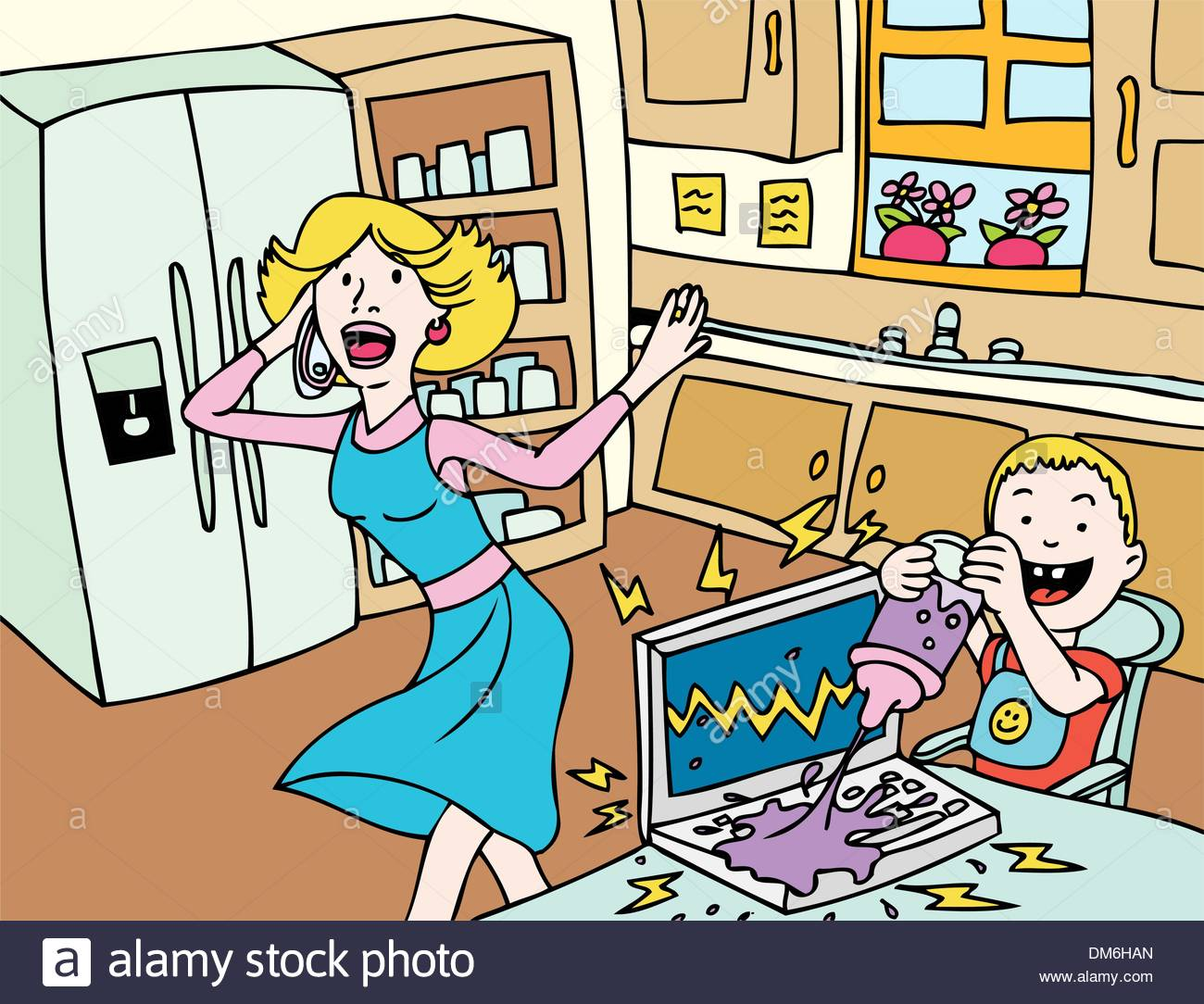 Bad Day for Mommy - Stock Vector