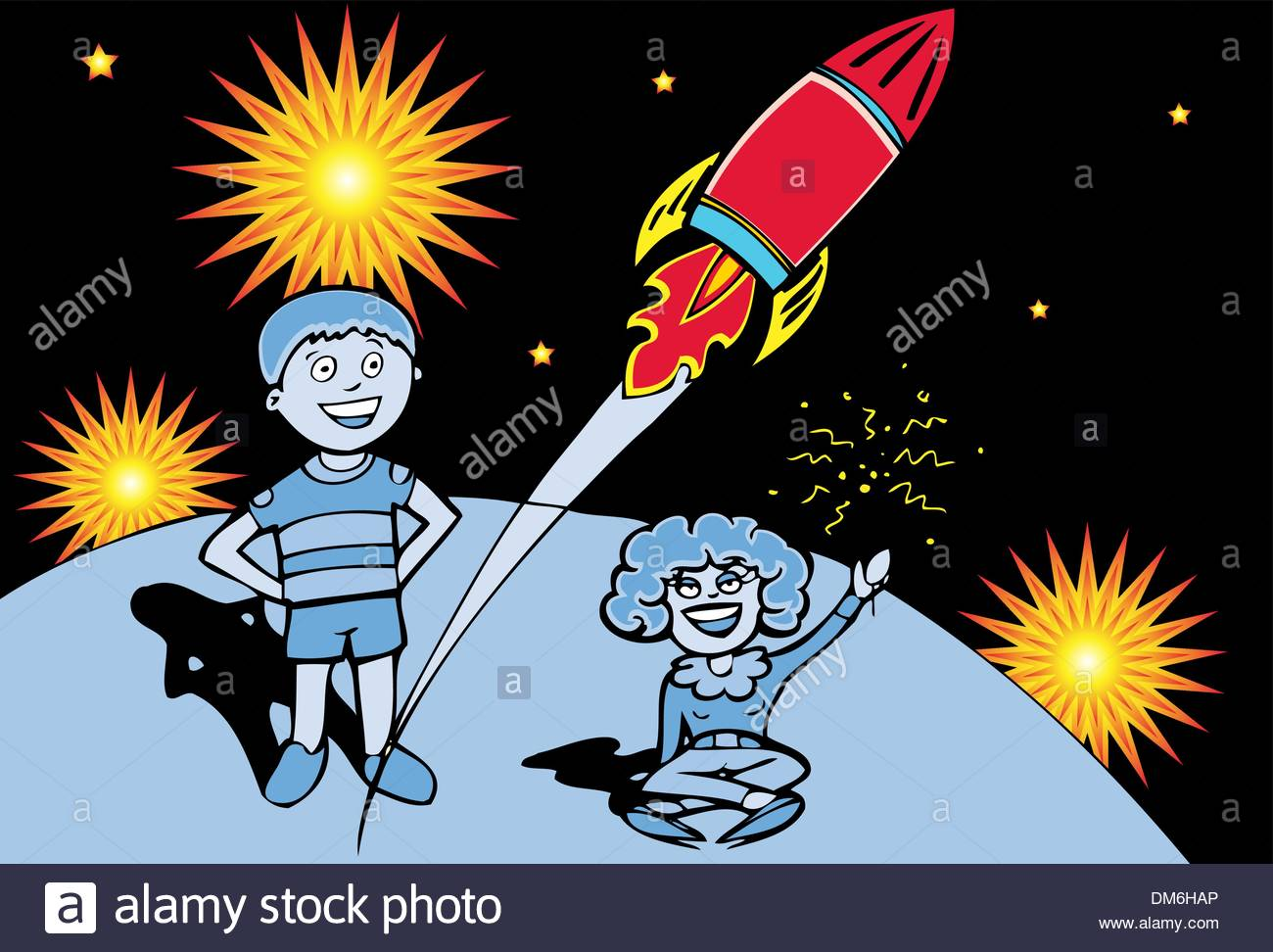 Mother and Son Watch Fireworks - Stock Vector