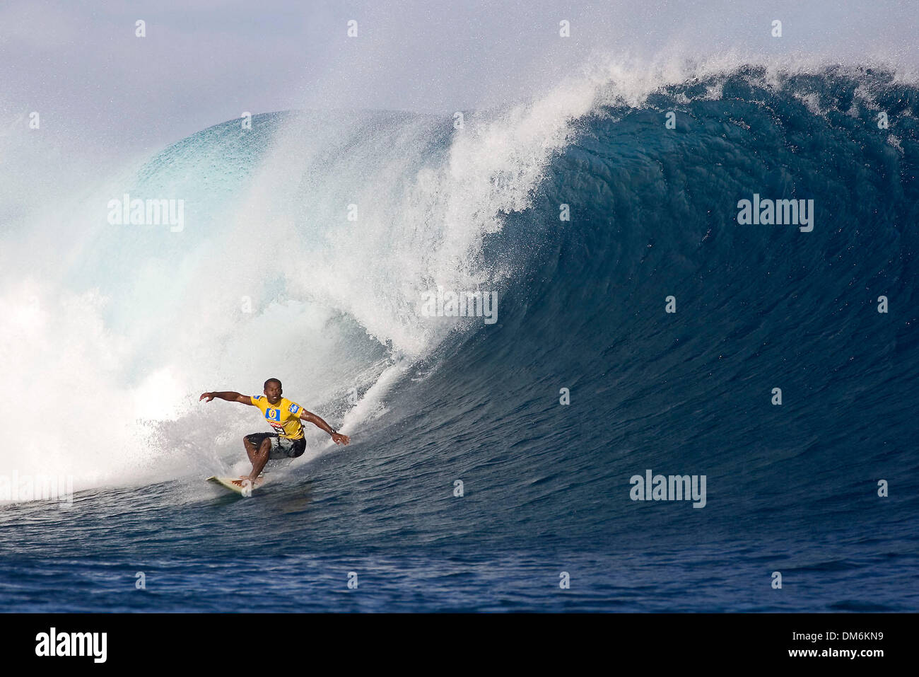May 29, 2005; Tavarua island, Fiji, Fiji; Fijian wildcard surfer, Isei Tokovou. pictured in round two of the Globe WCT Fiji at Tavarua Island today. Tokovou lost out to 2001 ASP world champion CJ Hobgood in the solid 2 Ð 3 metre waves at Cloudbreak reef. Mandatory Credit: Photo by Pierre Tostee/ZUMA Press. (©) Copyright 2005 by Pierre Tostee - Stock Image