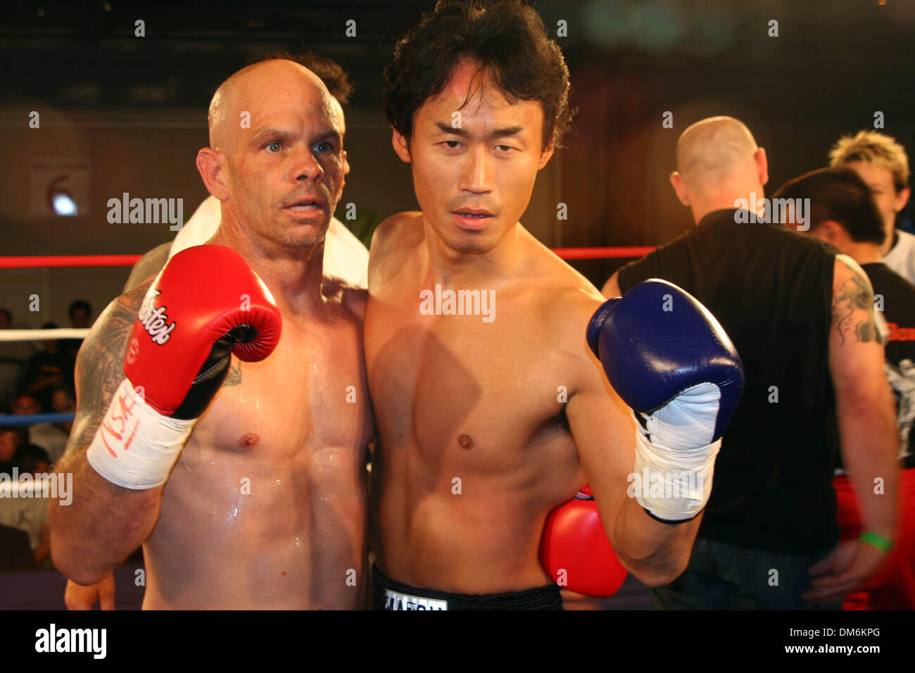 May 30, 2005; Las Vegas, NV, USA; HISAYUKI KANAZAWA right poses with TOM JONES (L), after defeating JONES. KANAZWAWA from JAPAN won the IMTC WORLD Welterweight Championship MUAY THAI Title in the first round 2:43 seconds technical knockout against TOM JONES at the PLAZA Hotel & Casino in Las Vegas, Nevada. Mandatory Credit: Photo by Mary Ann Owen/ZUMA Press. (©) Copyright 2005 by M - Stock Image