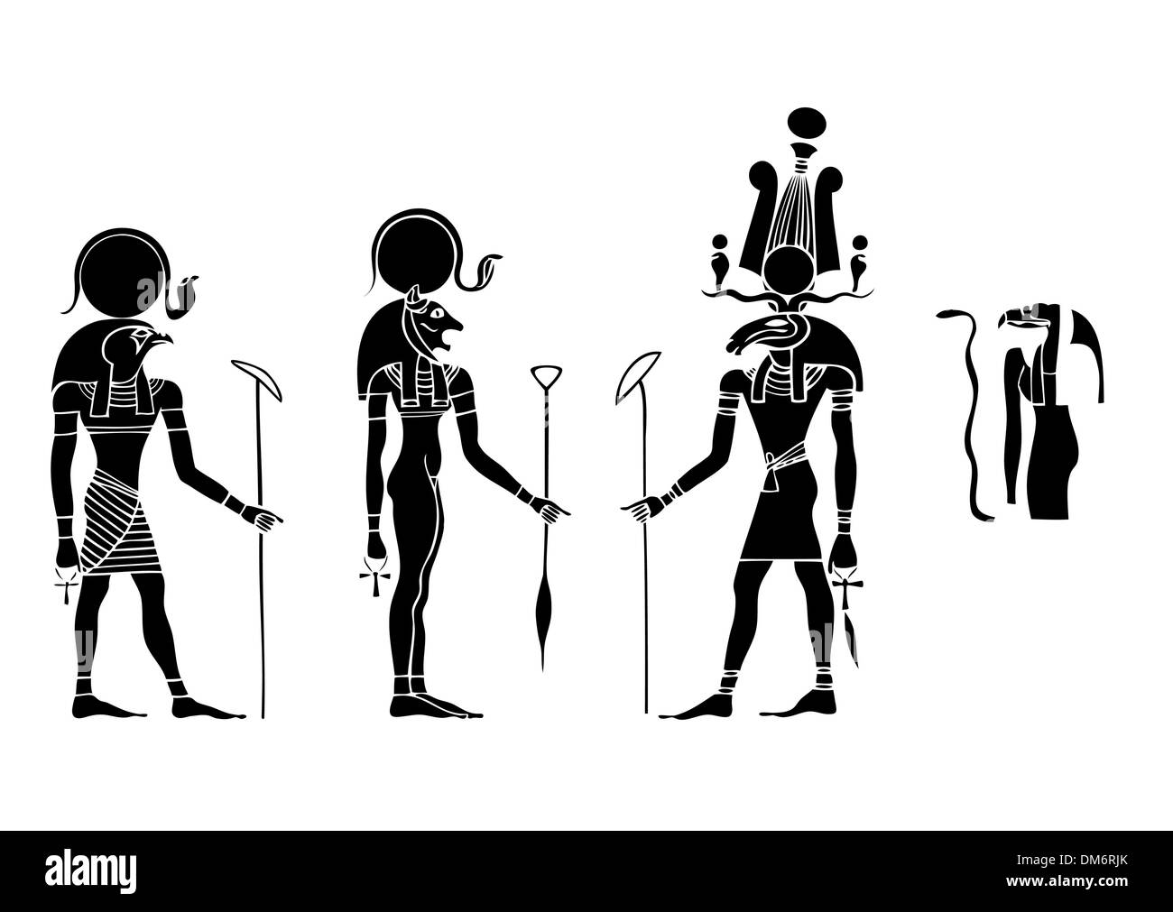 vector Gods of ancient Egypt - Stock Image