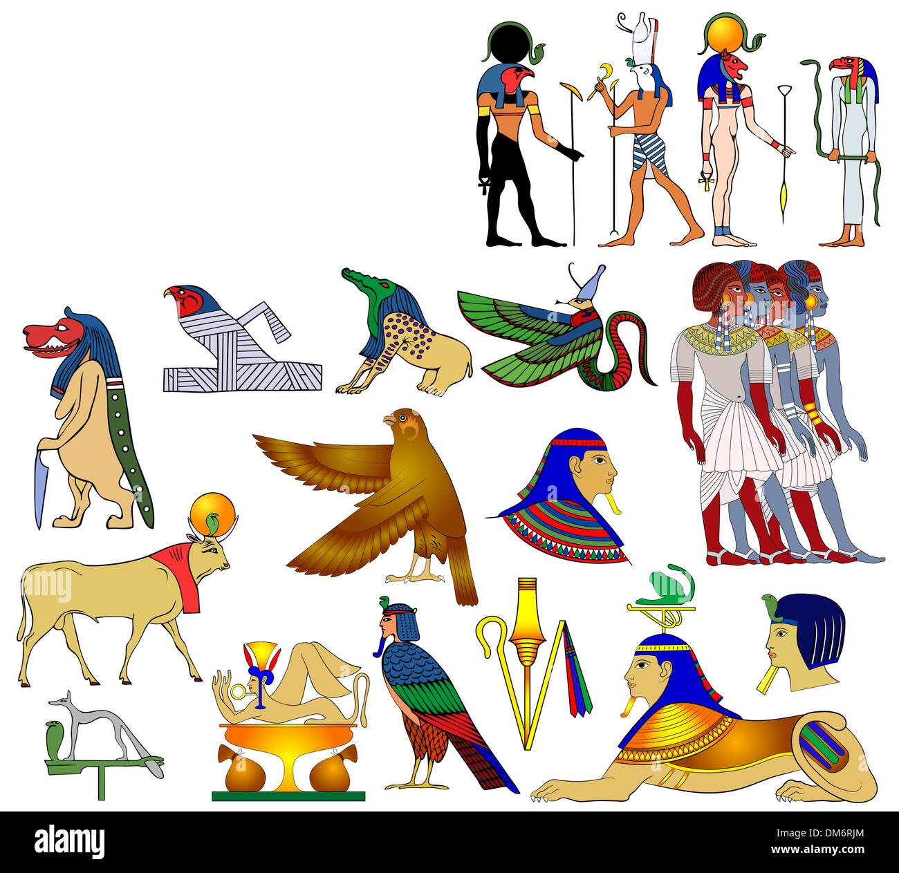 Various themes of ancient Egypt - vector - Stock Image