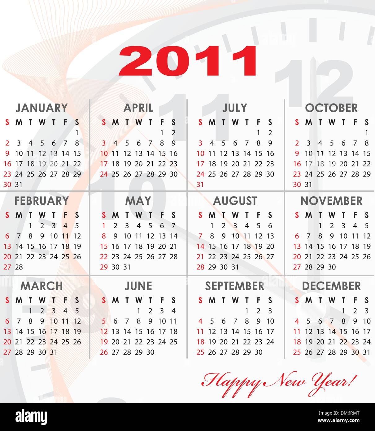 calendar grid of 2011 year
